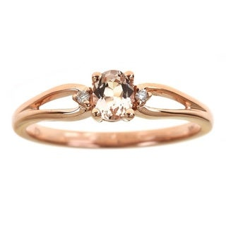 Anika and August 14k Rose Gold Oval Morganite Diamond Accent Split Shank Ring
