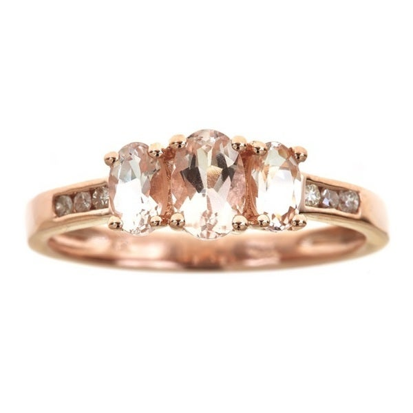 Anika and August 14k Rose Gold 3-stone Morganite 1/10ct TDW Diamond Ring (G-H, I1-I2) (Size 7)
