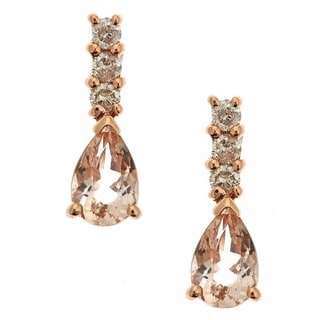 Anika and August 14k Rose Gold Morganite 1/6ct TDW Diamond Earrings (G-H, I1-I2)