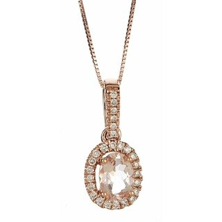 Anika and August 14k Rose Gold Oval-cut Morganite 1/5ct TDW Diamond Necklace (G-H, I1-I2)