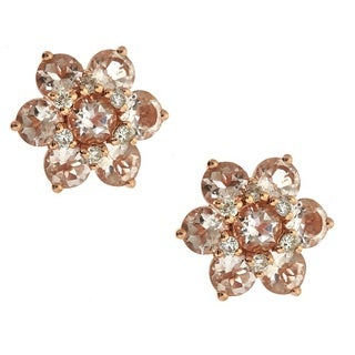 Anika and August 14k Rose Gold Morganite and Diamond Accent Flower Earrings