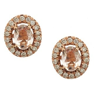 Anika and August 14k Rose Gold Morganite 1/5ct TDW Diamond Round Earrings (G-H, I1-I2)