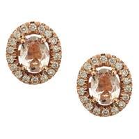 Anika and August 14k Rose Gold Morganite 1/5ct TDW Diamond Round Earrings (G-H, I1-I2)