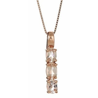 Anika and August 14k Rose Gold Oval-cut Morganite 3-stone Necklace
