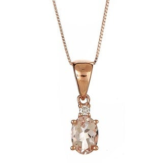 Anika and August 14k Rose Gold Oval-cut Morganite and Diamond Accent Necklace