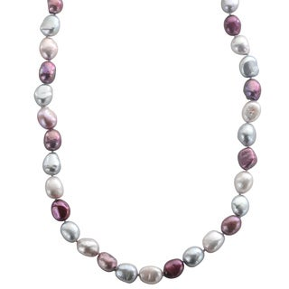 Sterling Silver Multi-color Baroque Freshwater Necklace (9-10 mm)