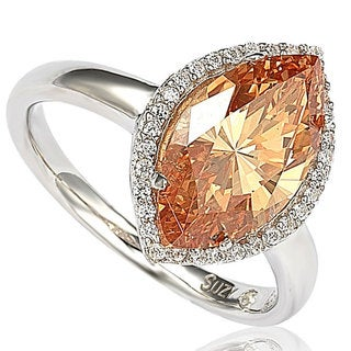 Suzy Levian Sterling Silver Marquise-cut Cubic Zirconia Halo Ring