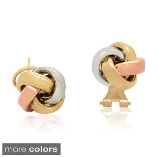 Gold over Silver Omega Love Knot Stud Earrings