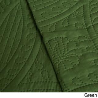 Fashion Solid 3-piece Quilt Set (Green - Queen - 3 Piece)