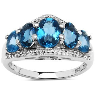 Malaika 3.30 Carat Genuine London Blue Topaz Sterling Silver Ring