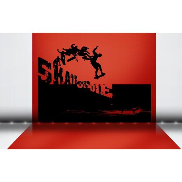 Red Skateboarding Skate Or Die Sticker Vinyl Wall Art