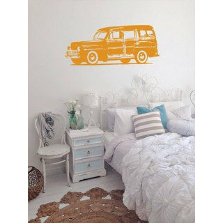 Old Woodie Car Sticker Vinyl Wall Art