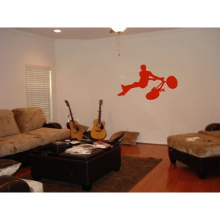 BMX Bike Sticker Orange Vinyl Wall Art