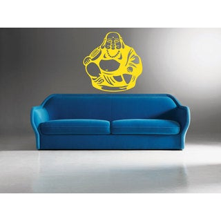 Sitting Buddha Yellow Sticker Vinyl Wall Art