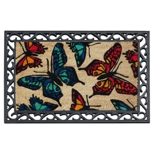 First Impression Butterflies Coco Rubber Tray Mat (2' x 3')