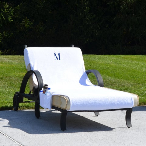 Turkish Cotton Monogrammed Towel Cover with pockets for Standard Size Chaise Lounge Chair