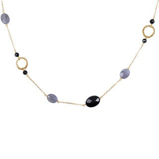 14k Yellow Gold Black Onyx and Labradorite Station Necklace