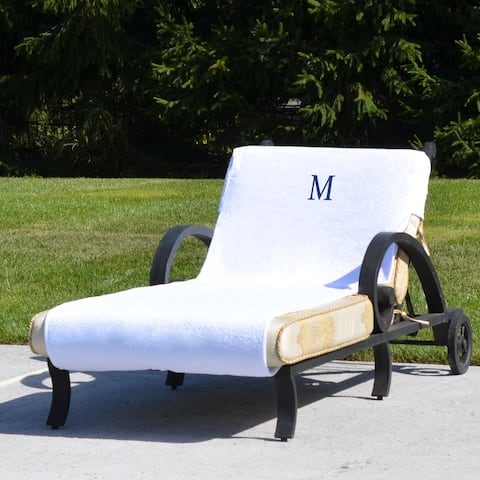 Authentic Hotel and Spa Turkish Cotton Monogrammed Towel Cover for Standard Size Chaise Lounge Chair