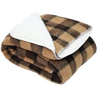 J and M Home Fashions Jacquard Sherpa Fleece Throw