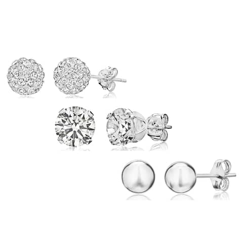 Pori Sterling Silver Crystal and Cubic Zirconia 3-piece Stud Earrings Set