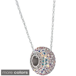 Pori Sterling Silver Pave Crystal Rondelle Cable Chain Necklace