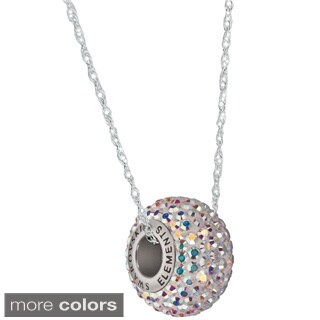 Pori Sterling Silver Pave Crystal Rondelle Cable Chain Necklace (Option: Rose)