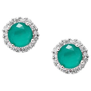 Pori Sterling Silver Round Green Cubic Zirconia Halo Stud Earrings