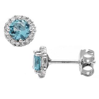 Pori Sterling Silver Round Light Blue Cubic Zirconia Halo Stud Earrings