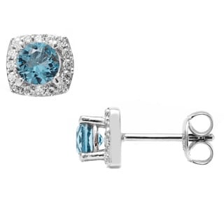 Pori Sterling Silver Square Round Light Blue Cubic Zirconia Halo Stud Earrings