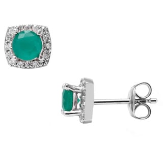 Pori Sterling Silver Round Green Cubic Zirconia Halo Square Stud Earrings