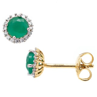 Pori 18k Goldplated Sterling Silver Round Green Cubic Zirconia Halo Stud Earrings