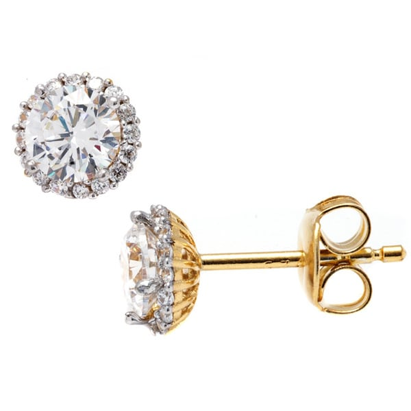 Pori Goldplated Sterling Silver Round Clear Cubic Zirconia Halo Stud Earrings