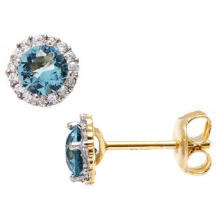 Pori Goldplated Sterling Silver Round Light Blue Cubic Zirconia Halo Stud Earrings