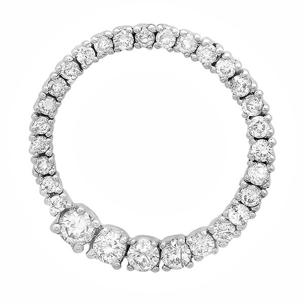 Elora 14k White Gold 3/4ct TDW Diamond Graduated Circle Necklace