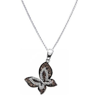 14k White Gold 1ct TDW Champagne and White Diamond Butterfly Necklace (H-I, I1-I2)