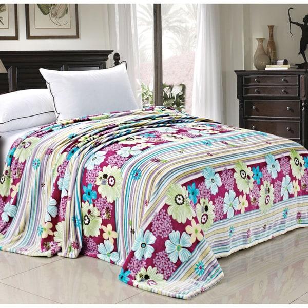 BOON Printed Blossom Flower Flannel Fleece Blanket