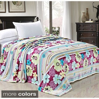 BOON Printed Blossom Flower Flannel Fleece Blanket (2 options available)