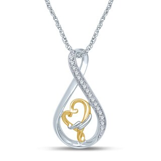 Unending Love 1/10CT Sterling Silver/Vermeil Natural Diamond Loving Arms Pendant (H-I, I1-I2)