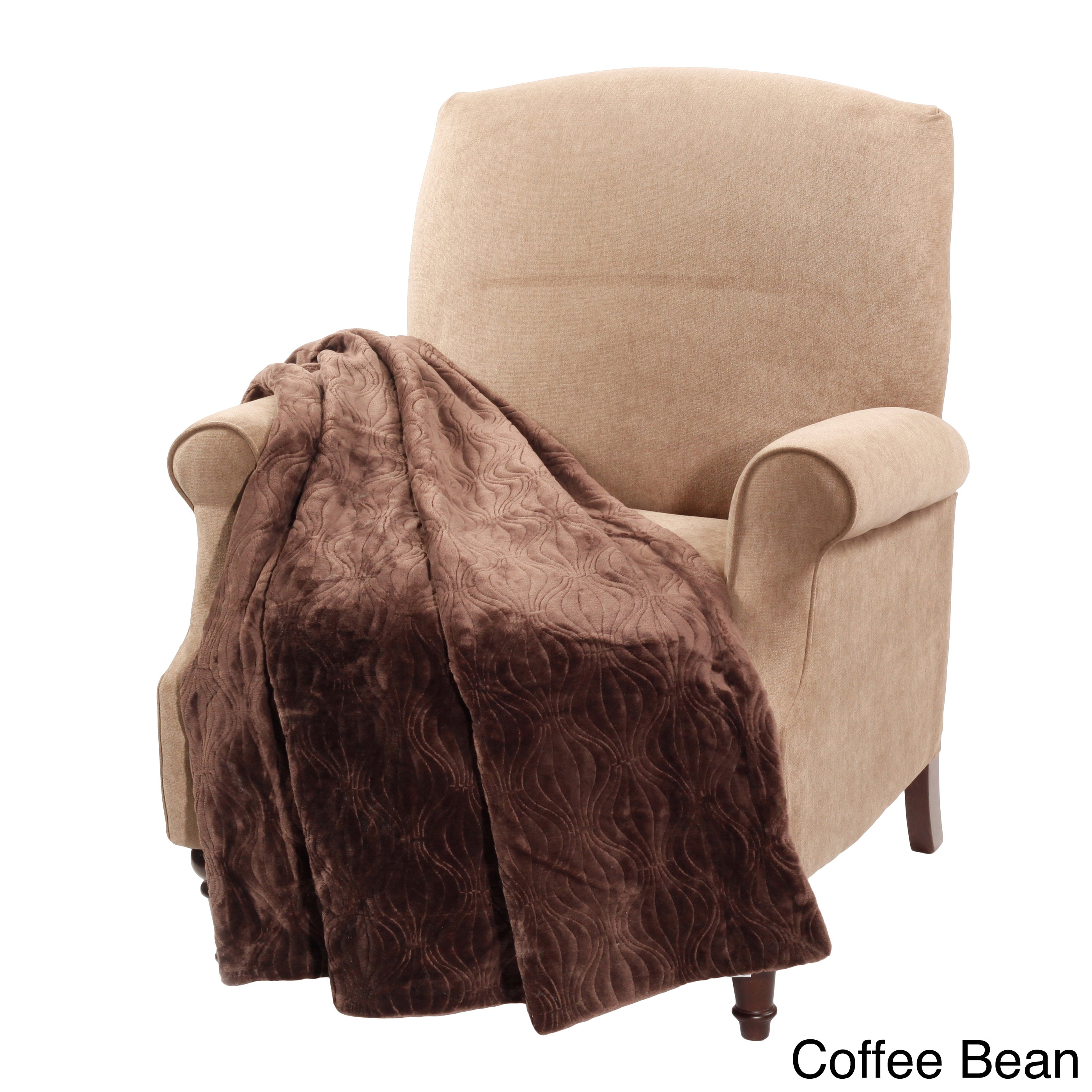 Boon Quilted Flannel Throw (Coffee bean), Brown (Polyeste...