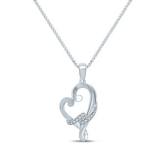 Unending Love Sterling Silver Diamond Accent Milgrain Heart-shaped Necklace