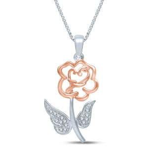 Unending Love Pink Vermeil Sterling Silver Diamond Accent Rose Necklace