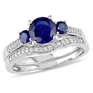 Miadora 10k White Gold Created Blue Sapphire 1/6ct TDW Diamond 3-stone Bridal Ring Set (G-H, I2-I3)