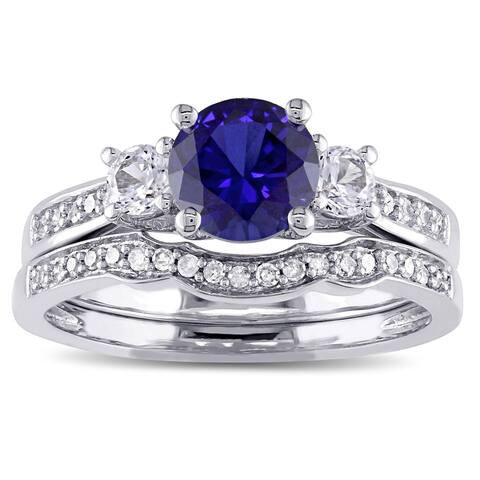 Miadora 10k White Gold Created Blue and White Sapphire and 1/6ct TDW Diamond 3-stone Bridal Ring Set