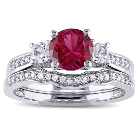 ab5922d30 Miadora 10k White Gold Created Ruby and White Sapphire and 1/6ct TDW  Diamond 3