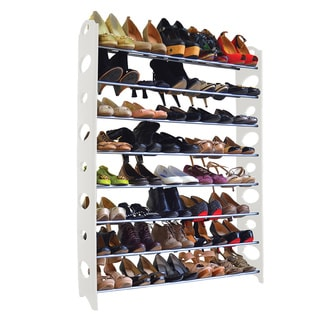 Studio 707 - 40 Pair White Shoe Rack - 8-Tier