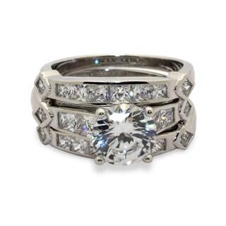 Sterling Silver Round-cut Princess-cut Cubic Zirconia 3 Piece Bridal Set Ring