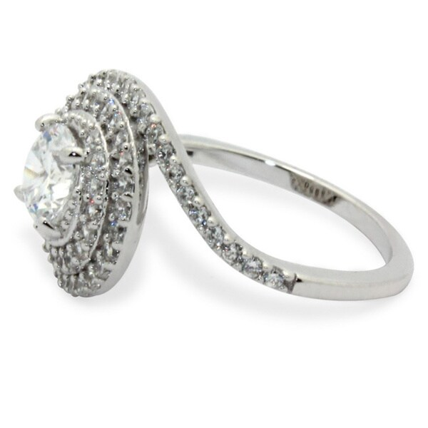 Round Shape 1.25 Ct Cubic Zirconia Swirl Engagement Ring In 925 Black Rhodium Over Sterling Silver