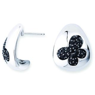 Lotopia 925 Sterling Silver Black Swarovski Zirconia Butterfly Earrings