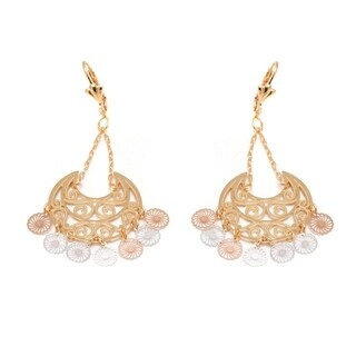 Goldplated 3-tone Filigree Cut-out Chandelier Earrings