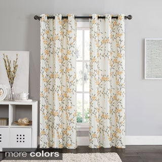 VCNY Rebecca Floral 84-inch Grommet Top Room Darkening Curtain Panel Pair